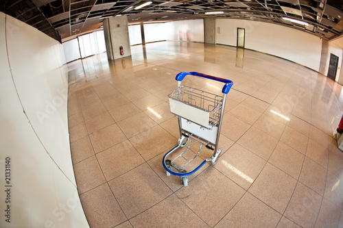 empty baggage trolley at the airport
