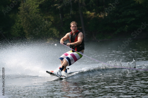 Wakeboarding around the lake