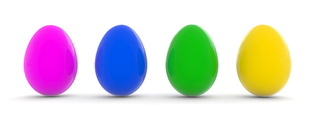 easter eggs in four colors