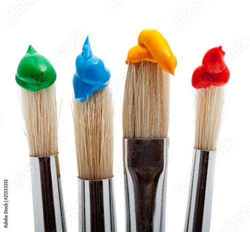 vier pinsel mit farbe stockfotos und lizenzfreie bilder auf bild 21333513. Black Bedroom Furniture Sets. Home Design Ideas