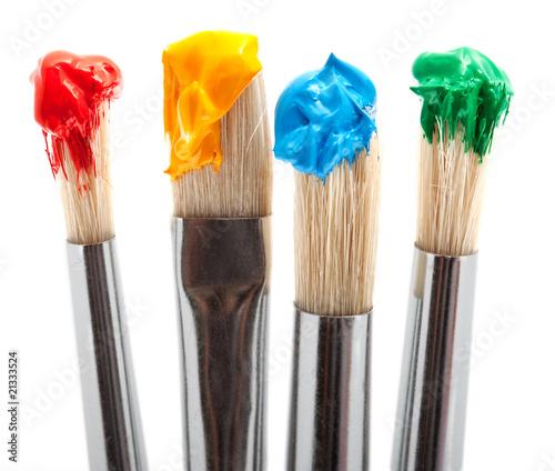 vier pinsel mit farbe von digitalpress lizenzfreies foto 21333524 auf. Black Bedroom Furniture Sets. Home Design Ideas