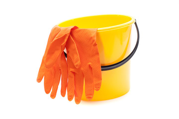 Yellow bucket, gloves