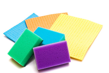 Colored sponges for washing dishes and clothes