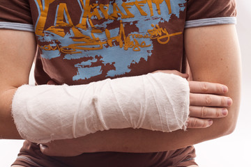 Man with a plastered arm
