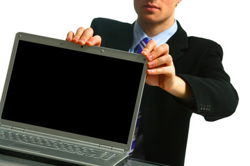 Young businessman, secretary or student with laptop..