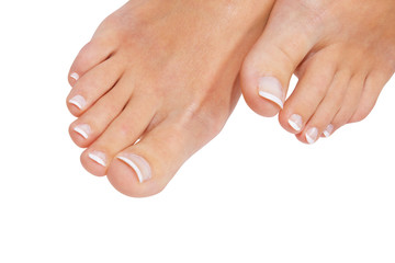 French pedicure isolated with clipping path. See path palette
