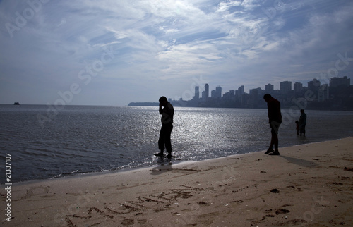 Mumbai, India. Chowpatty Beach and the skyline of Mumbai.