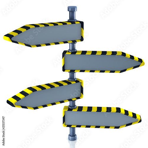 Blank direction signs in industrial style (3d render)