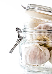 White Garlic in a storeage Jar