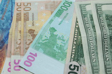 euros dollars and francs