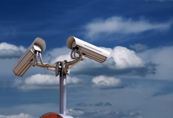 security camera under blue sky