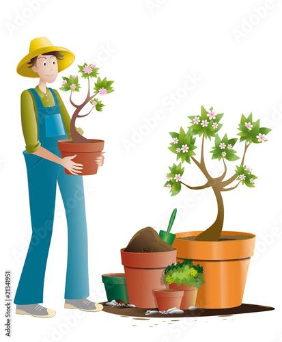 jardinier et pots de fleurs photo libre de droits sur la banque d 39 images image. Black Bedroom Furniture Sets. Home Design Ideas