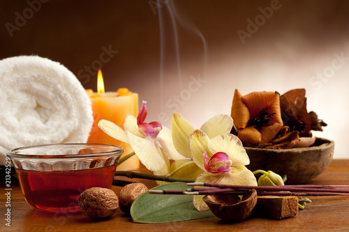 aromatherapy incense and bowl of oil massage