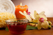 SPA aromatherapy incense and bowl of oil massage