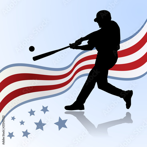 baseball player of america vector silhouette