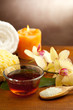 spa bowl of oil massage and bath salts