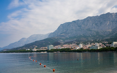 View of the resort Makarska and Mount Biokovo. Croatia