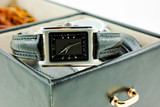 black with silver female watch in a jewelery case poster