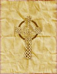Celtic cross on  parchment