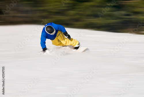 down hill with the snowboard