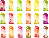 Set of packing milky products with fruit poster