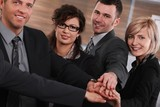 Successful businesspeople joining hands poster