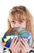 young beautiful girl with disks