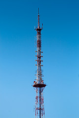 perspective of a tall communications tower