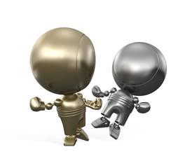 Confrontation between the gold and silver robots in boxing