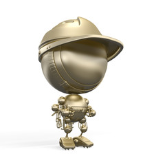 Golden figurine of robot - rock climber in helmet & with fuses