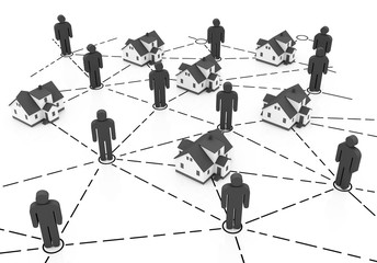 Real Estate Market, orange network isolated on white background