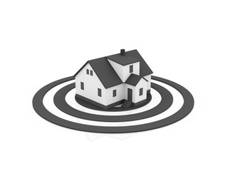 illustration of a house in the center of a grey target