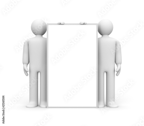 Two person and blank billboard