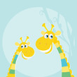 roleta: Funny jungle yellow giraffes. VECTOR ILLUSTRATION