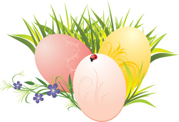 Grass, Easter eggs and spring flowers with ladybird. Vector