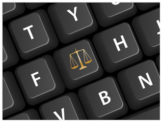 """""""Scales of Justice"""" key on keyboard (legal advice lawyer)"""