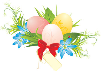 Easter eggs, spring flowers and red bow with card. Vector