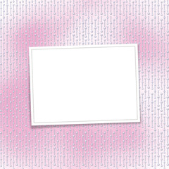 Card for invitation or congratulation on the pearl pink backgrou