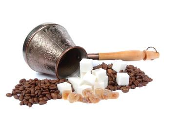coffee pot, Coffee grains and sugar