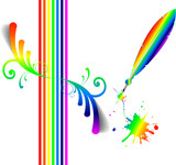 Vector rainbow and pen