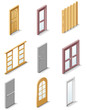 Vector building products icons. Part 3. Doors