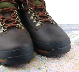 Hiking boots and map