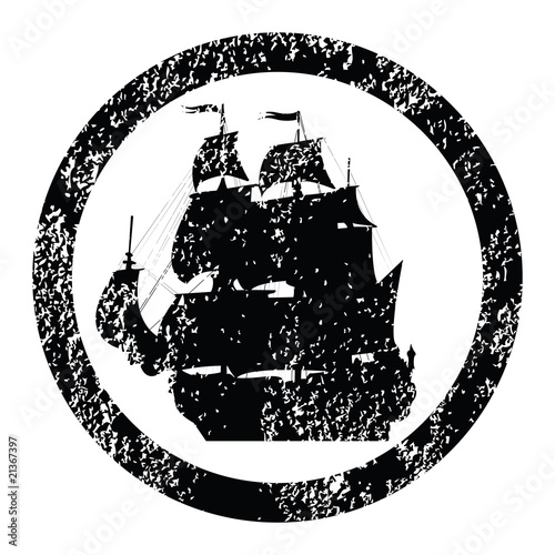 Rubber stamp with brigantine silhouette