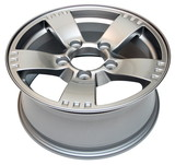 An isolated modern aluminum alloy wheel on a white background poster