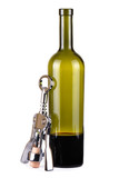 One incomplete bottle of wine and corkscrew poster