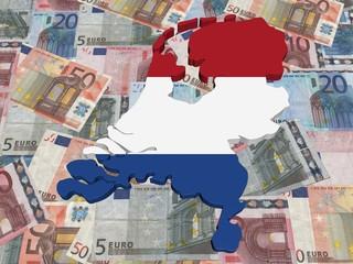 Netherlands 3d Map flag on euro currency illustration