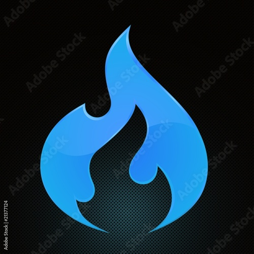 Vector Illustration of blue fire on abstract grid background