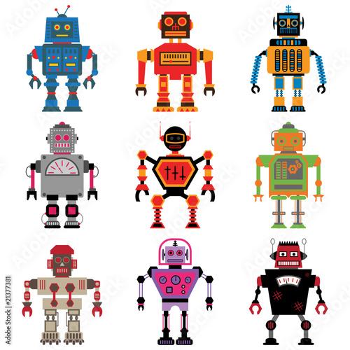 Dziewięć różnych retro robotów wektorowych