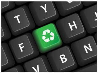 RECYCLE SIGN Key on Keyboard (Recycled Recycling Go Green Symbol
