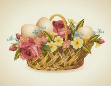 Rocznika wielkanoc kosz z kwiatami i Wielkanoc jaj